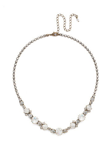 Classic Chiffon Line Necklace in Antique Gold-tone Crystal