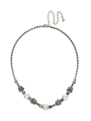 Classic Chiffon Line Necklace in Antique Silver-tone Crystal Rock