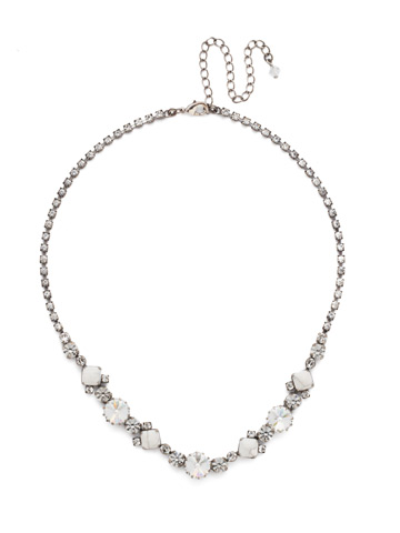 Classic Chiffon Line Necklace in Antique Silver-tone Crystal