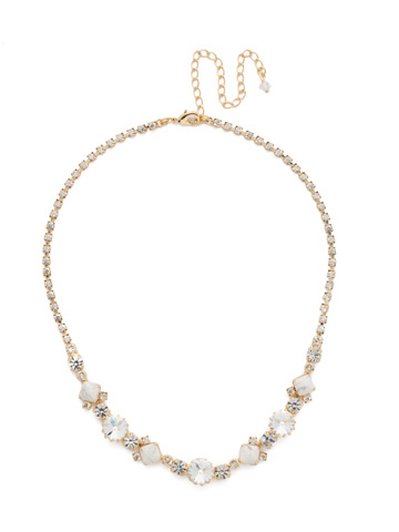 Classic Chiffon Line Necklace in Bright Gold-tone Crystal