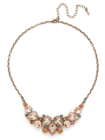 Nested Pear Statement Necklace in Antique Gold-tone Apricot Agate