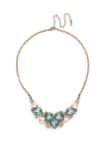 Nested Pear Statement Necklace in Antique Gold-tone Coastal Mist