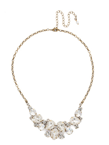 Nested Pear Statement Necklace in Antique Gold-tone Crystal