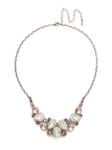 Nested Pear Statement Necklace in Antique Silver-tone Crystal Rose