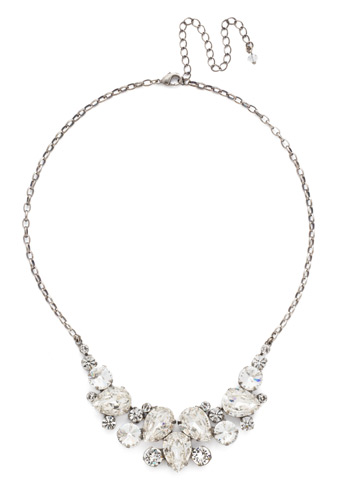 Nested Pear Statement Necklace in Antique Silver-tone Crystal
