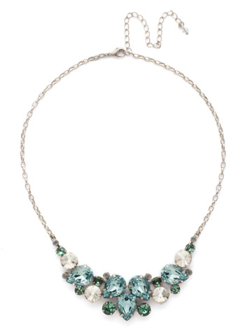 Nested Pear Statement Necklace in Antique Silver-tone Pebble Blue