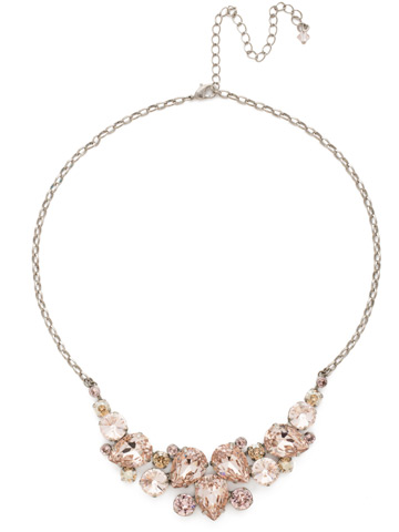 Nested Pear Statement Necklace in Antique Silver-tone Satin Blush