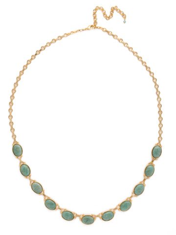 Large Eyelet Long Strand Necklace in Bright Gold-tone Pacific Opal