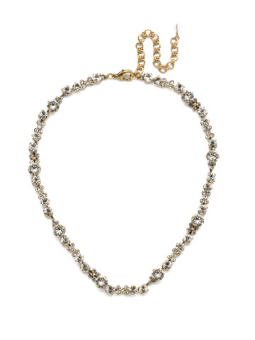 In Bloom Line Necklace in Antique Gold-tone Crystal