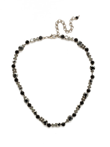 In Bloom Line Necklace in Antique Silver-tone Black Onyx