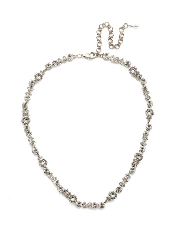 In Bloom Line Necklace in Antique Silver-tone Crystal