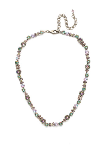 In Bloom Line Necklace in Antique Silver-tone Lilac Pastel