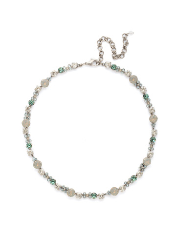 In Bloom Line Necklace in Antique Silver-tone Pebble Blue