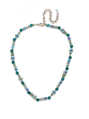 In Bloom Line Necklace in Antique Silver-tone Sweet Mint