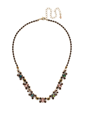 Perfect Harmony Line Necklace in Antique Gold-tone Mahogany
