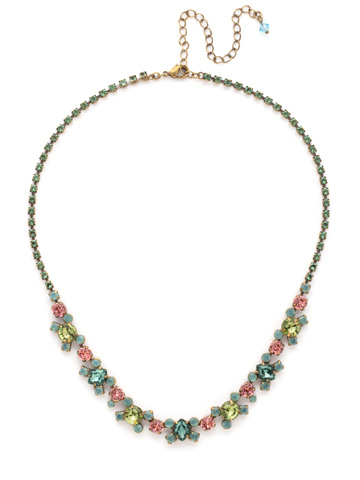 Perfect Harmony Line Necklace in Antique Gold-tone Gem Pop