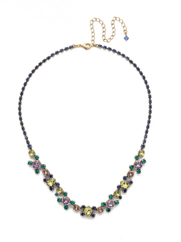 Perfect Harmony Line Necklace in Antique Gold-tone Wildflower
