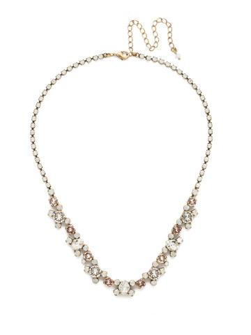 Perfect Harmony Line Necklace in Antique Gold-tone White Magnolia