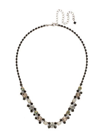 Perfect Harmony Line Necklace in Antique Silver-tone Black Onyx