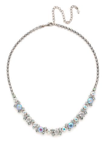 Perfect Harmony Line Necklace in Antique Silver-tone Rainbow Quartz