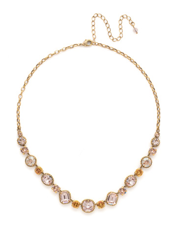 Embellished Elegance Necklace in Antique Gold-tone Apricot Agate