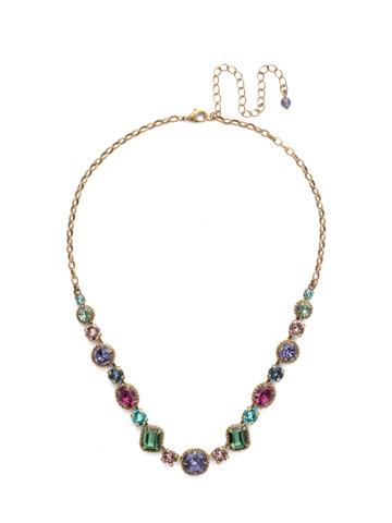 Embellished Elegance Necklace in Antique Gold-tone Jewel Tone