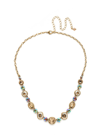 Embellished Elegance Necklace in Antique Gold-tone Neutral Territory