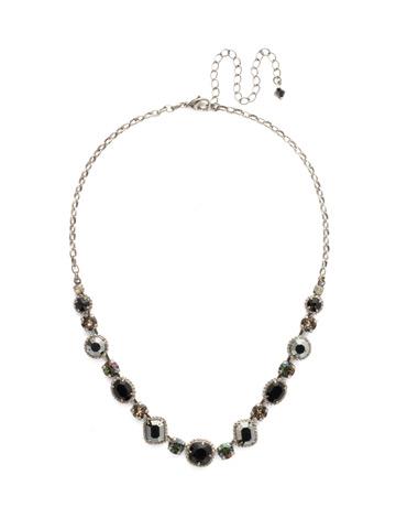 Embellished Elegance Necklace in Antique Silver-tone Black Onyx
