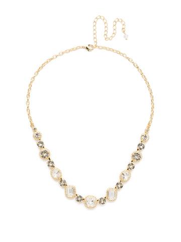 Embellished Elegance Necklace in Bright Gold-tone Crystal