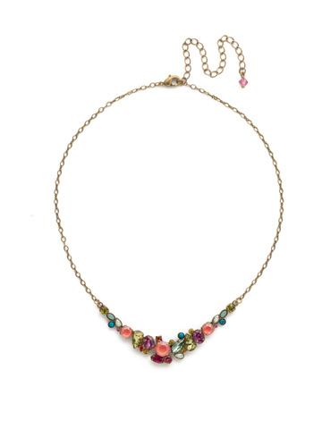 Asymmetric Cluster Necklace in Antique Gold-tone Botanical Brights