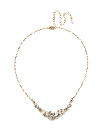 Asymmetric Cluster Necklace in Antique Gold-tone Crystal
