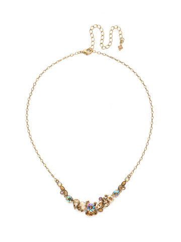 Asymmetric Cluster Necklace in Antique Gold-tone Neutral Territory
