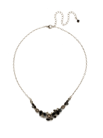 Asymmetric Cluster Necklace in Antique Silver-tone Black Onyx