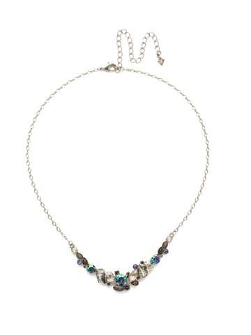Asymmetric Cluster Necklace in Antique Silver-tone Crystal Rock