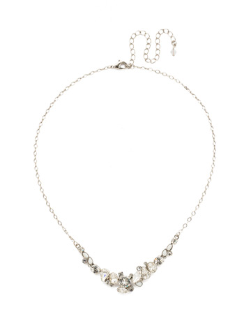 Asymmetric Cluster Necklace in Antique Silver-tone Crystal