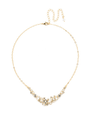 Asymmetric Cluster Necklace in Bright Gold-tone Crystal