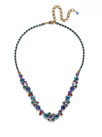 Sophisticate Classic Line Necklace in Antique Gold-tone Game of Jewel Tones