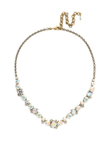 Sophisticate Classic Line Necklace in Antique Gold-tone Snowflake