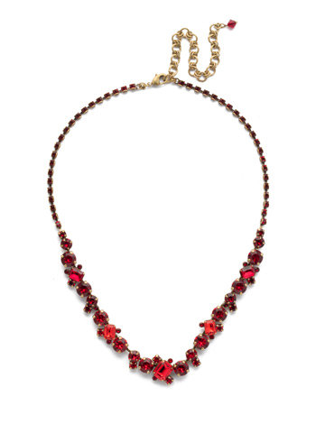 Sophisticate Classic Line Necklace in Antique Gold-tone Sansa Red