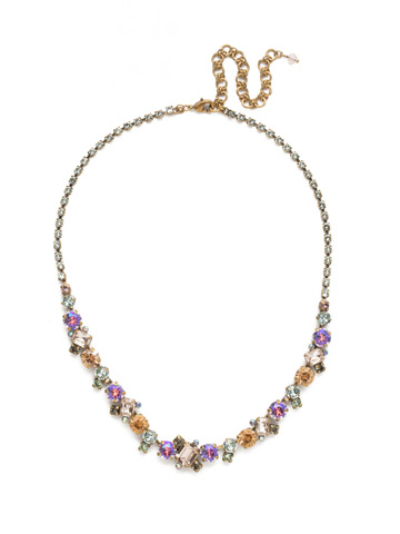 Sophisticate Classic Line Necklace in Antique Gold-tone Washed Waterfront