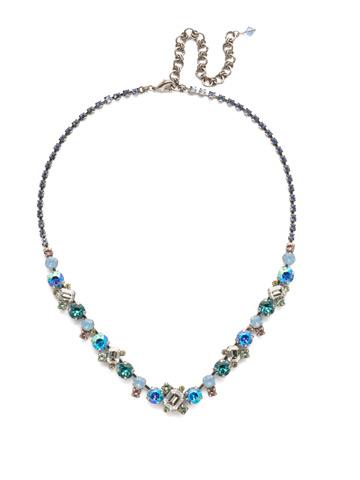 Sophisticate Classic Line Necklace in Antique Silver-tone Pastel Prep
