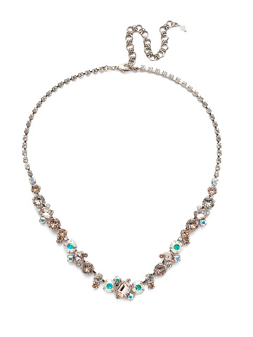 Sophisticate Classic Line Necklace in Antique Silver-tone Silky Clouds