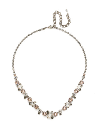 Sophisticate Classic Line Necklace in Antique Silver-tone Snow Bunny