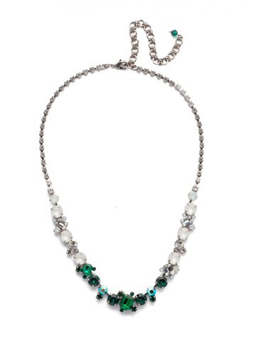 Sophisticate Classic Line Necklace in Antique Silver-tone Snowy Moss