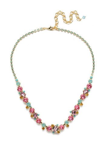 Sophisticate Classic Line Necklace in Bright Gold-tone Candy Pop