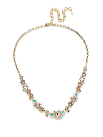Sophisticate Classic Line Necklace in Bright Gold-tone Silky Clouds