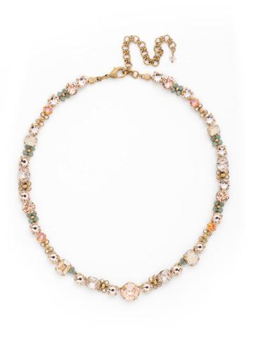 Multi-cut classic T-shirt Necklace in Antique Gold-tone Apricot Agate