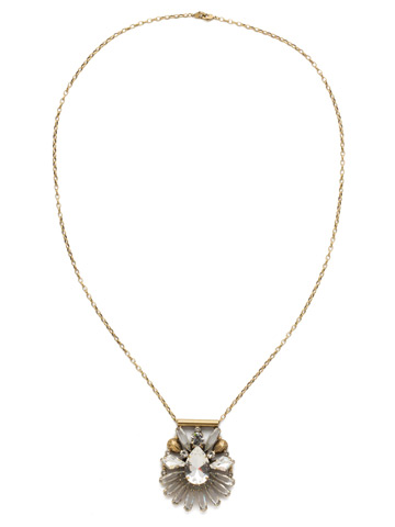 Radiant Gems Statement Pendant in Antique Gold-tone Crystal