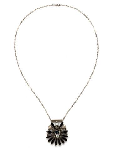 Radiant Gems Statement Pendant in Antique Silver-tone Black Onyx