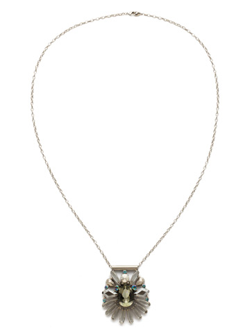 Radiant Gems Statement Pendant in Antique Silver-tone Crystal Rock